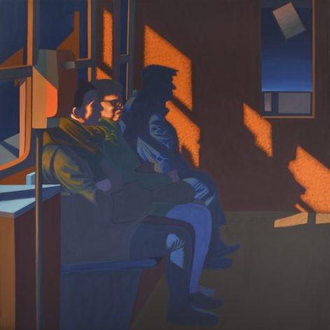 """Obraz """"W tramwaju"""", ludzie w tramwaju w mocnym kontrastowym świetle"""