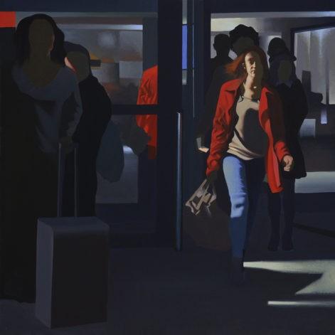 """Obraz """"W tunelu Magda"""", z cyklu """"światłoczułe"""", Pani w czerwonym płaszczu, sylwetki w mocnym kontrastowym świetle"""
