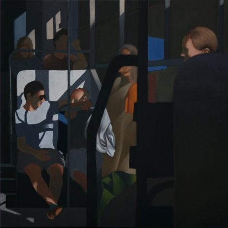 """Obraz """"Wnętrze 1"""", ludzie w tramwaju w mocnym kontrastowym świetle"""