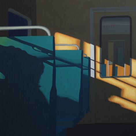 """Obraz """"Wnętrze 3"""", wnętrze tramwaju w mocnym kontrastowym świetle"""