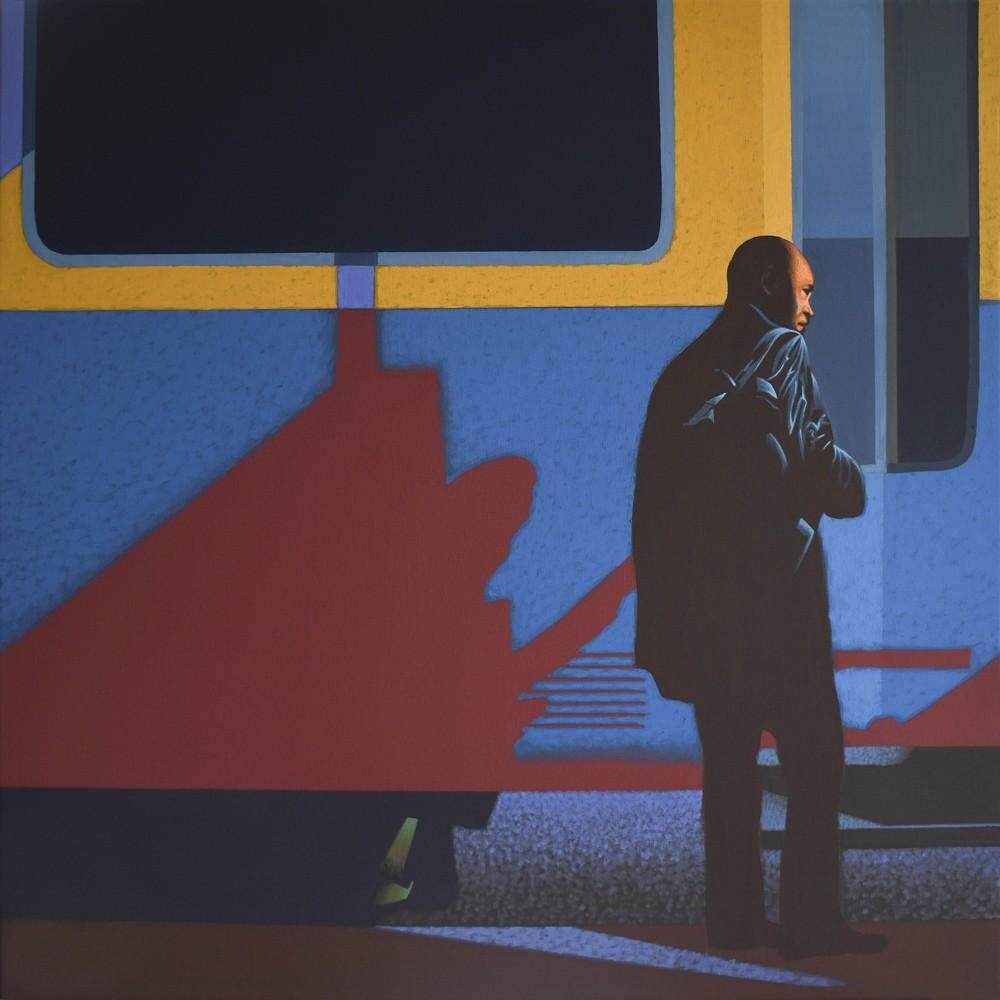 """Obraz """"Wsiada"""", z cyklu """"światłoczułe"""", człowiek wsiadający do pociągu w mocnym kontrastowym świetle, obraz figuratywny"""