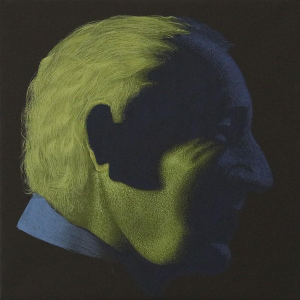 """Obraz """"Zielononiebieski"""", z cyklu """"portret"""", zanikający w cieniu portret mężczyzny, obraz figuratywny, portret"""