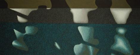 """Obraz bez tytułu, z cyklu """"międzyprzestrzeń"""", abstrakcyjna gra cieni, abstrakcja geometryczna"""
