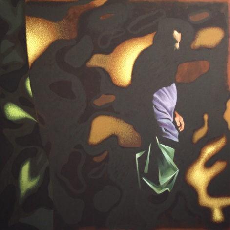 Obraz, sylwetka człowieka zanurzona w abstrakcyjnej grze cieni, abstrakcja geometryczna