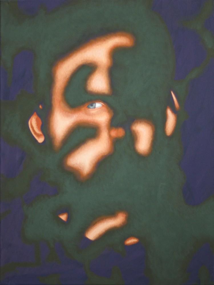 """Obraz z cyklu Zanikanie 2"""", Twarz mężczyzny w mocnym kontrastowym świetle, obraz figuratywny"""