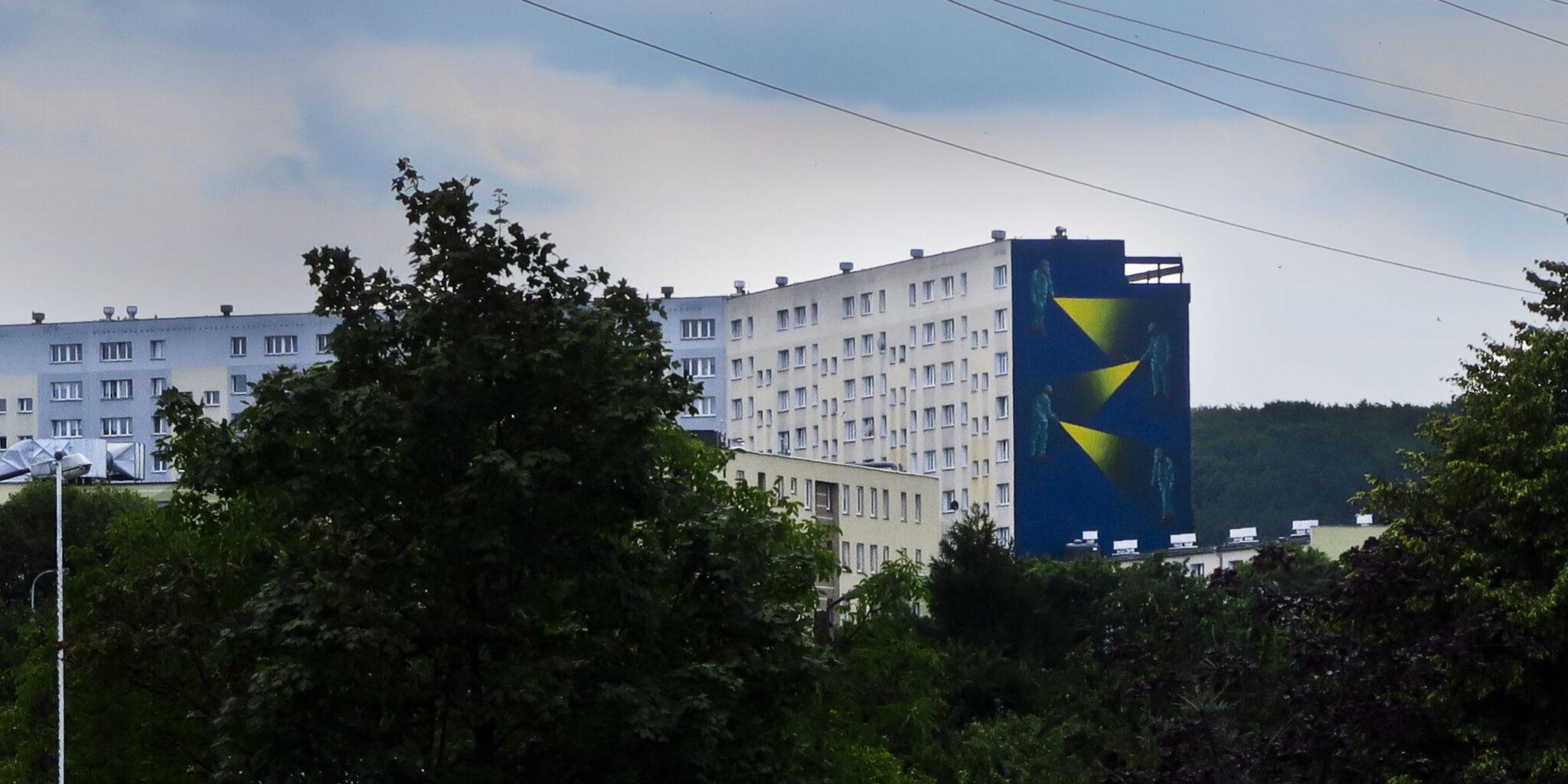 """mural """"Multiplikacja"""" na osiedlu Zaspa w Gdańsku"""