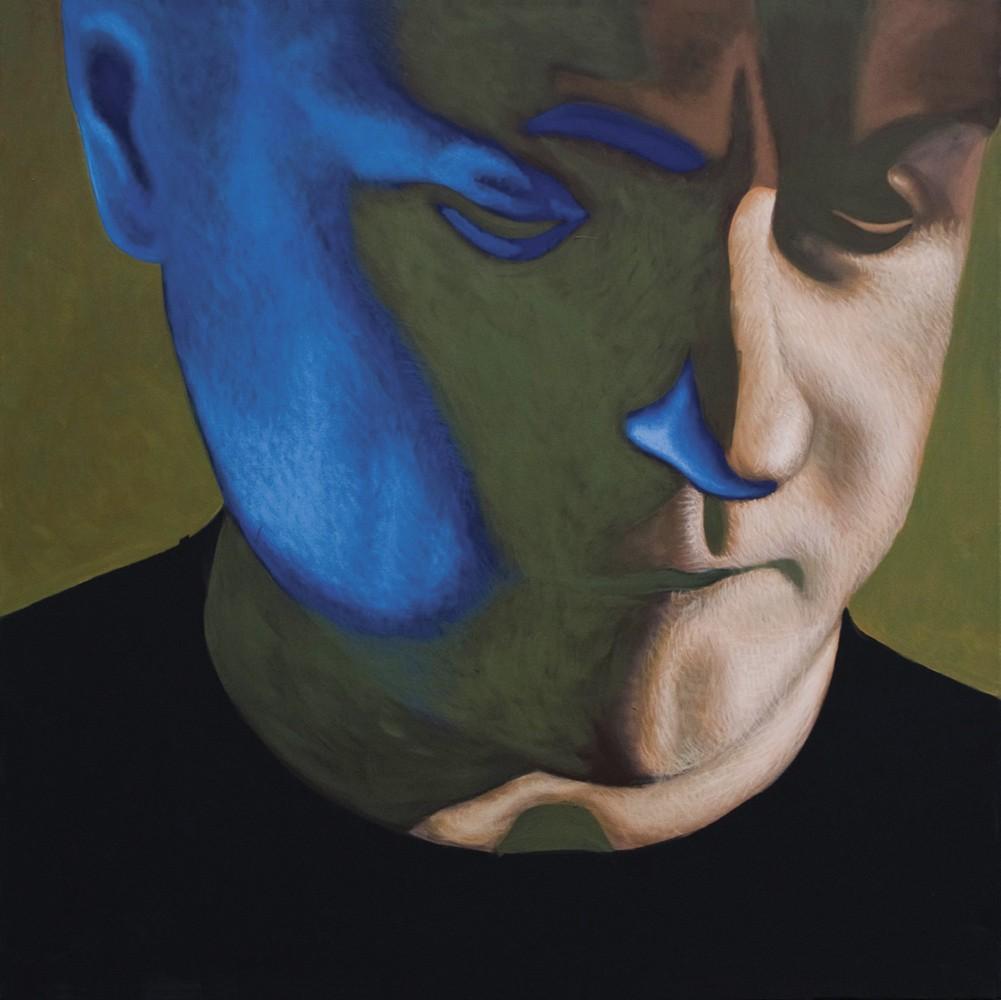 """Obraz """"Niebieski refleks"""", z cyklu """"portret"""", portret mężczyzny z niebieskim refleksem świetlnym na twarzy"""