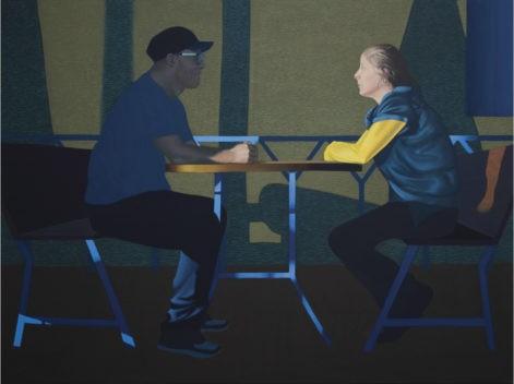 """Obraz """"Ona, on"""", z cyklu """"światłoczułe"""", mężczyzna i kobieta przy kawiarnianym stole"""