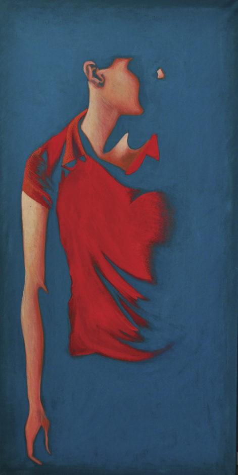 """Obraz z cyklu """"portret światła 2"""", zanikająca w cieniu sylwetka kobiety"""