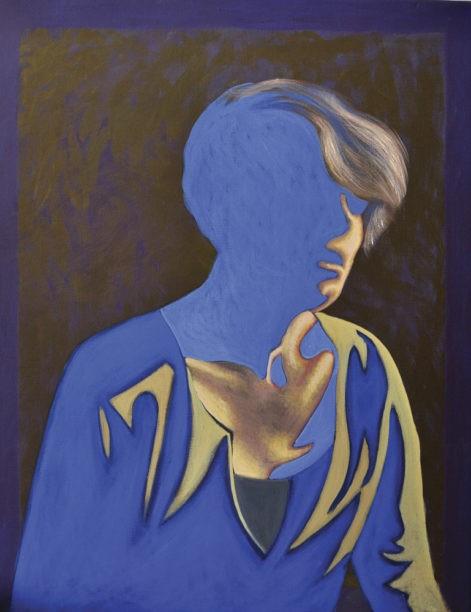 """Obraz z cyklu """"portret światła 3"""", zanikająca w cieniu sylwetka kobiety"""