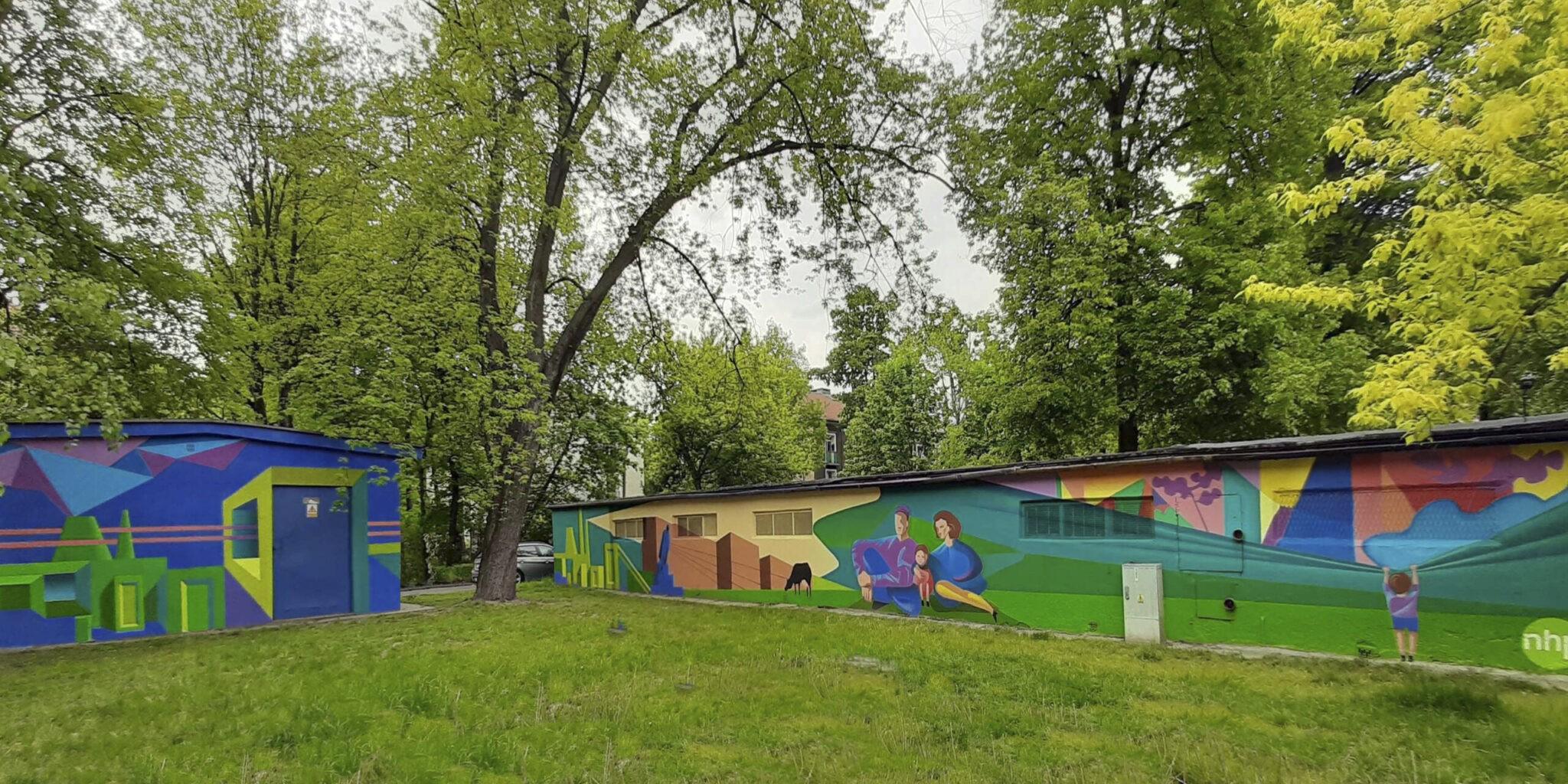 murale Dariusza Milczarka na osiedlu Willowym w Krakowie.